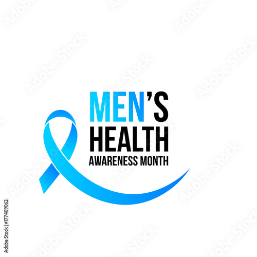 Movember or November men health awareness month poster or banner of blue ribbon Canvas Print