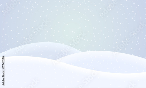 Tablou Canvas Vector flat design illustration of a snowy winter landscape with hills and snowf