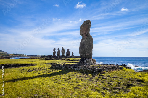 Photo Moais statues, ahu tahai, easter island