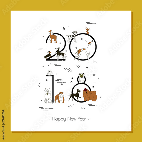 banner in breeds of dogs symbol 2018 happy new year memphis style
