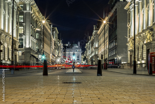 Light trails in Piccadilly Circus in London at night - 1 Wallpaper Mural