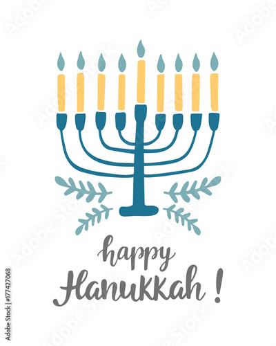 Photo Happy Hanukkah greeting card with hand written modern brush lettering and menora