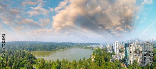 Plakat Piękna panoramę miasta z parku i roślinności
