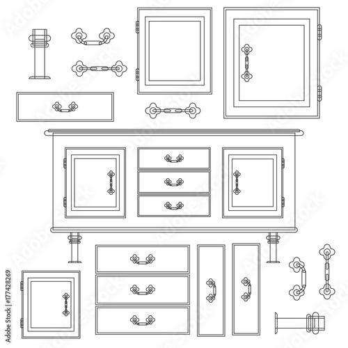 Fotografia, Obraz  Sideboard flat vector