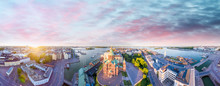 Aerial View Of Helsinki At Dus...