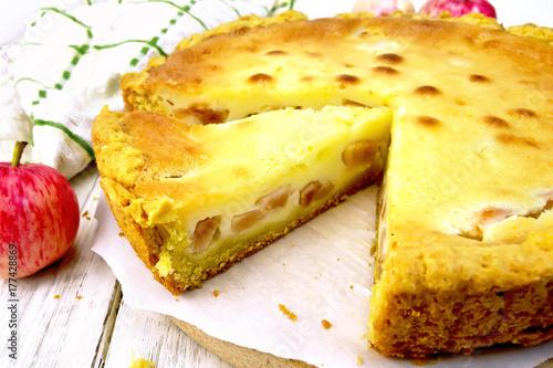 Plakat Jabłko pie z kwaśną śmietaną na pergaminie
