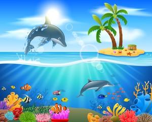 Fototapeta na wymiar Cartoon dolphin jumping in blue ocean background. vector illustration