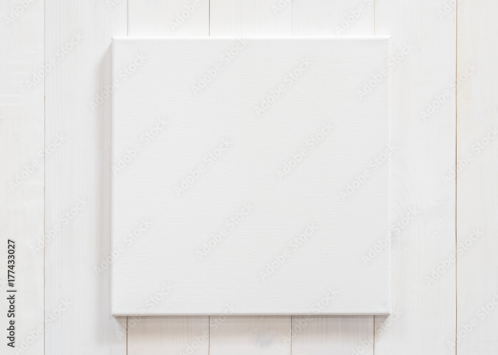 Fototapety, obrazy: White canvas frame mock up template square size on white wood wall for arts painting and photo hanging interior decoration