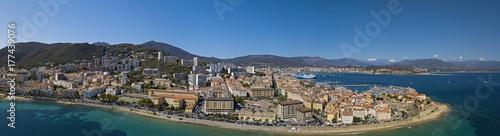 Plakat Widok z lotu ptaka Ajaccio, Corsica, Francja. Obszar portu i centrum miasta widziane z morza. Łodzie portowe i domy