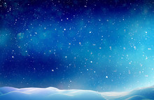 Christmas Winter Background With Snow And Blurred Bokeh.Merry Christmas And Happy New Year Greeting Card With Copy-space