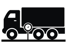 Vehicle Weighing, Truck And Weight, Black Silhouette, Vector Icon
