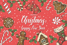 """Christmas Background With Hand Drawn Golden Doodle Holly,bells,gingerbread,sleigh And Christmas Sock.Hand Made Quote """"Merry Christmas Happy New Year"""". Sketch. Vector. Banner, Poster, Flyer, Brochure."""