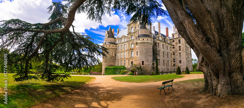 Foto op Canvas Kasteel One of the most beautiful and mysterious castles of France - Chateau de Brissac ,Loire valley