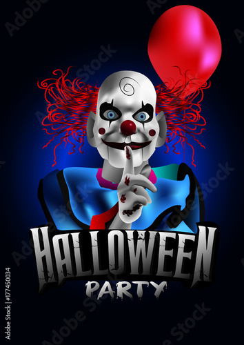 Photo scary clown with a balloon halloween party flyer