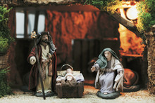 Christmas Manger With Figurines.