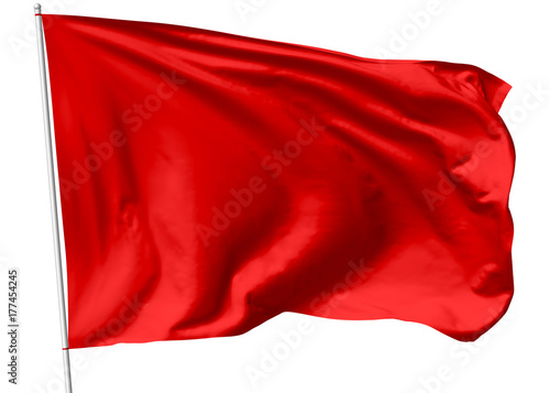 Fototapeta Red flag on flagpole obraz