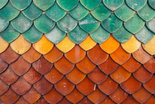 Colourful Roof Tiles Typical For Thai Buddhist Temples