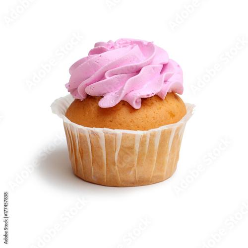 Zdjęcie XXL ciastko z różowym kremem na białym tle