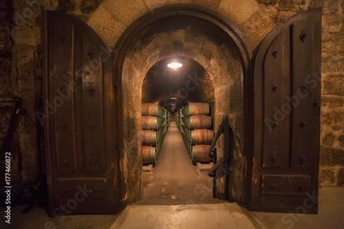 Fotografering Barrels row in a Rioja winery in Alava