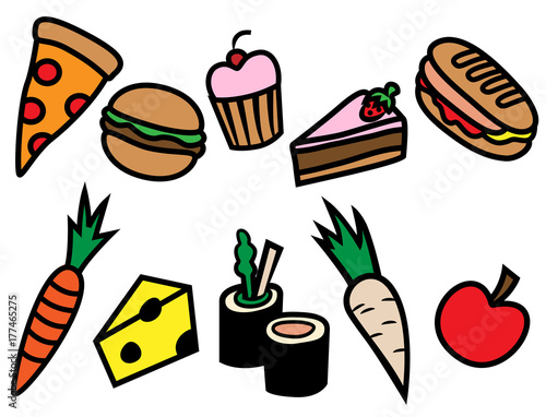 Cartoon vector illustration of different types of food, healthy ...
