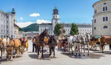 Old Horse Tourist Carriage In Salzburg, Austria