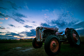 Sunset in Rural Michigan Rustic Tractor Purple Sky