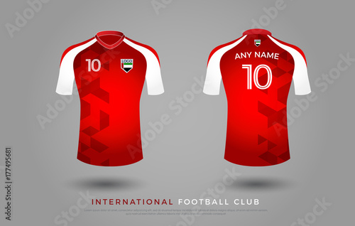 c3978f7248e98 soccer t-shirt design uniform set of soccer kit. football jersey template.  red and white color, front and white view shirt mock up. UAE football club  vector ...