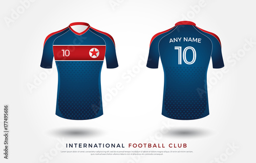 0efa116b5 soccer t-shirt design uniform set of soccer kit. football jersey template.  white, blue and red color, front and back view shirt mock up. north korea  ...