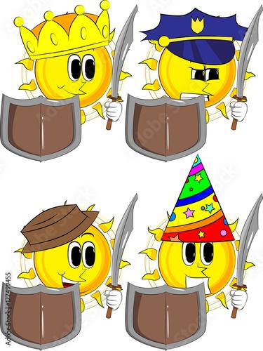 Photo  Cartoon knight sun holding a sword and shield
