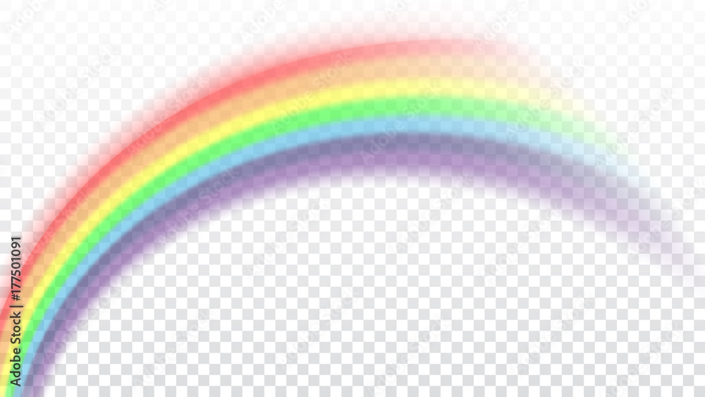 Fototapety, obrazy: Rainbow icon. Shape arch realistic isolated on white transparent background. Colorful light and bright design element. Symbol of rain, sky, clear, nature. Graphic object Vector illustration