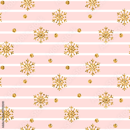 Cotton fabric Christmas gold snowflake seamless pattern. Golden glitter snowflakes on pink white lines background. Winter snow texture design wallpaper Symbol holiday, New Year celebration Vector illustration