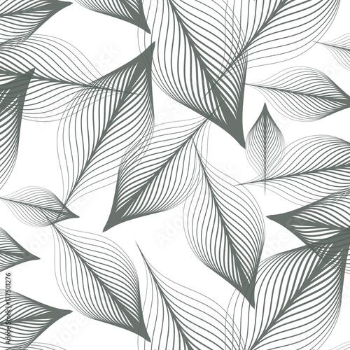 liniowy wzór wektorowy, powtarzające się abstrakcyjne liście, szara linia liścia lub kwiatu, kwiatowy. Czysty graficzny projekt tkaniny, wydarzenia, tapety itp. wzór jest na panelu próbek.