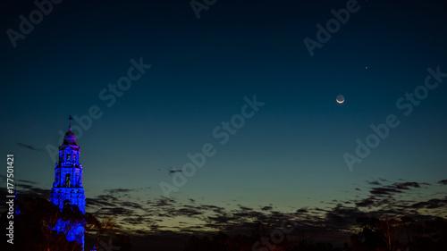 Tela California tower and the moon