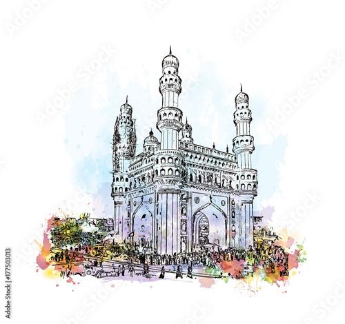 Watercolor sketch with splash of Charminar Hyderabad Telangana India in vector illustration. Fototapete