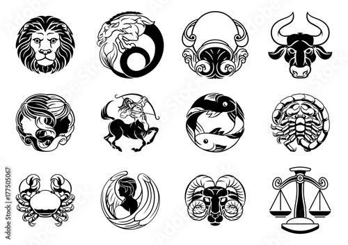 Obraz Zodiac astrology horoscope star signs icon set - fototapety do salonu