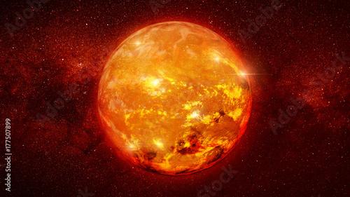 red dwarf star in a star field