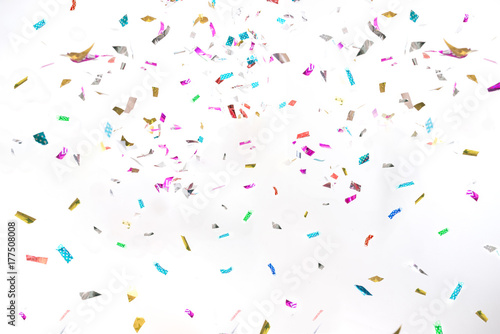 Obraz Party Background Colorful Glitter Confetti on White for Texture , Advertisement , Cover , Card - fototapety do salonu