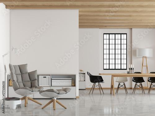 Modernes Loft mit weißer Wand Poster
