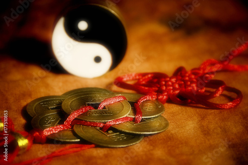 Yin yang, oriental chinese lucky coins like a concept for china