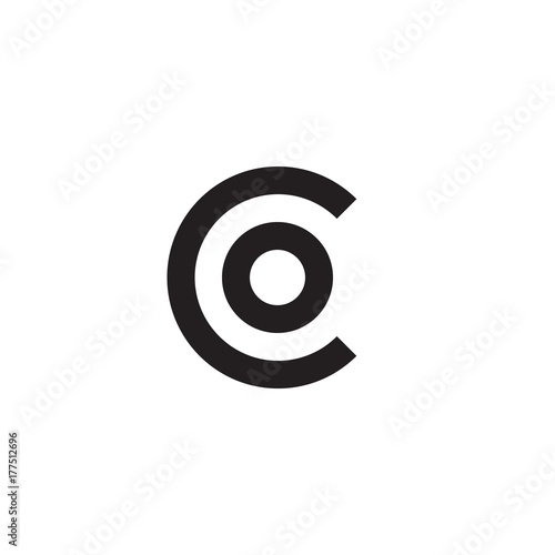 Initial Letter Co Oc O Inside C Linked Line Circle Shape Logo
