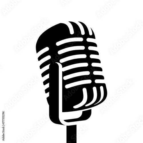 Fotografija Vintage microphone sign vector illustration