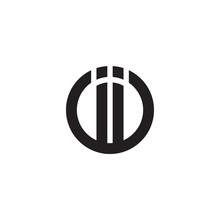 Initial Letter Ii, Linked Line Circle Shape Logo, Monogram Black Color