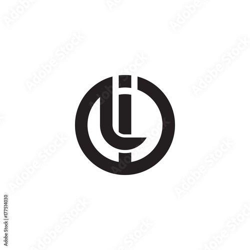 Photo Initial letter il, li, linked line circle shape logo, monogram black color