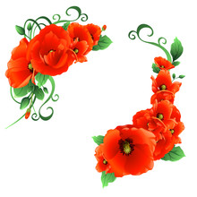 Flowers Poppies With Leaves, Wreaths, Frames