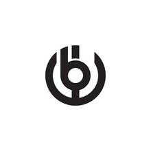 Initial Letter Wb, Bw, B Inside W, Linked Line Circle Shape Logo, Monogram Black Color