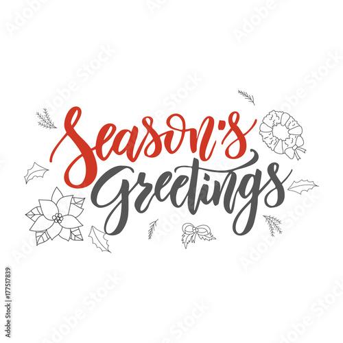 Season s Greetings handwriting script lettering  Marry