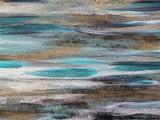 Artystyczna abstrakcjonistyczna kolorowa tekstura na płótnie. Złote paski, niebieskie plamy, czarno-białe pranie. - 177518840
