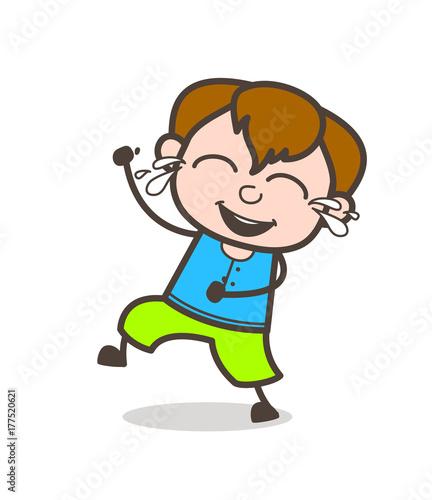 Fotobehang Indiërs Laughing Kid with Tears of Joy - Cute Cartoon Boy Illustration