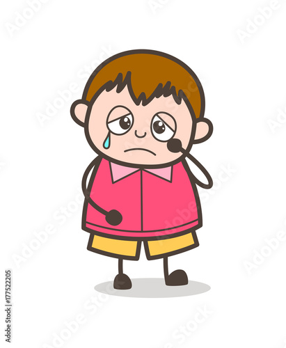 sad crying face - cute cartoon fat kid illustration stock vector | adobe  stock  adobe stock