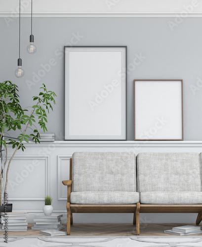 Interior design simple scene with frames. Modern scandinavian ...
